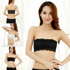Fashion Women Stretch Strapless Bandeau Padded Bra Boob Tube Top Seamless Crop