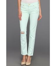 New 7 For All Mankind Women 27 Slim Cigarette Distressed Light Green Moss Jeans