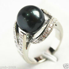 12mm Black South Sea Shell Pearl Gemstone Jewelry Ring Size 6/7/8/9 AAA Grade