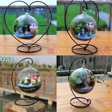 Hanging Glass Flowers Plant Vase Terrarium Container Home Decor +  Metal Stand