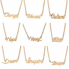 Fashion Gold&Silver Tone Monogram Necklace Words Pendant Clavicle chain for Gift