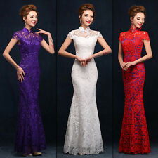 White/Red/Purple Lace Mermaid Evening Prom Dress Wedding Chinese Dress Gown Y08H