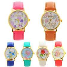 Women Fashion Leather Rose Flower Watch Quartz Analog Casual Wrist Watches Gift