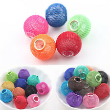 Big Hole Colorful Metal Mesh Rondelle Ball Beads Fit European Jewelry Charms