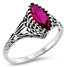 VICTORIAN DESIGN .925 STERLING RED LAB RUBY SILVER FILIGREE RING,           #807