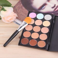 15 Color Contour Face Makeup Concealer Palette Kit Set Makeup Brush Sponge New
