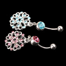 New Fashion Women Lady Heart Navel Belly Button Ring Bar Body Piercing For Gift