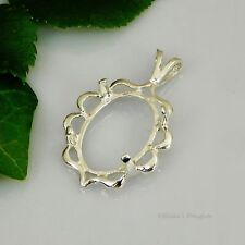 (18x13 - 40x30) OVAL Cameo Cabochon (CAB) Sterling Silver Pendant Setting