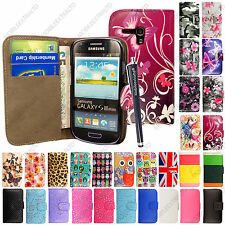 Leather Wallet Flip Case Cover For Samsung Galaxy S3 MINI i8190 + Guard+Stylus