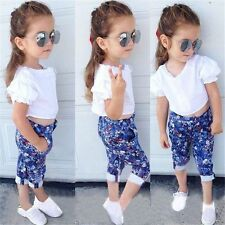 2Pcs Baby Girls White Short Sleeve T-shirt +Floral Pants Set Kids Summer Outfits