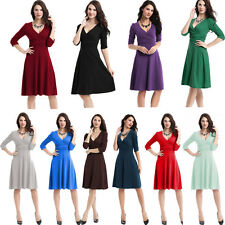 Womens Vintage Style Swing 1950s 60s Retro Pinup Rockabilly Office Evening Dress