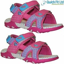 GIRLS VELCRO FASTENING SUMMER HOLIDAY BEACH SANDALS SCHOOL SHOES SIZE 10-2 UK