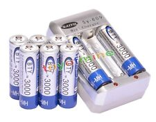8x 3000mAh AA 1.2V Ni-MH rechargeable battery BTY for RC Toys Camera MP3+Charger