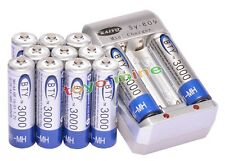 12x 3000mAh AA 1.2V Ni-MH rechargeable battery BTY for RC Toy Camera MP3+Charger