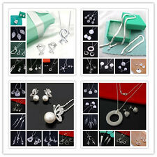 FREE P&P wholesale  SOLID STERLING SILVER NECKLACE EARRING BRACELET JEWELRY+BOX