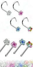 4pcs Flower Gem Nose Rings, Screws or Studs wholesale body jewelry 18g,20g