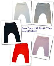 Solid Color Unisex Baby Pants with Elastic Waist - Preemie to Newborn Infant.