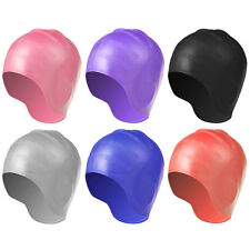Adult Stretch Swimming Waterproof Long Hair Cap Hat Silicone Ear Cup Protection