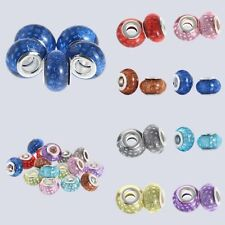 Round Murano Glass Beads Loose Spacer Finding Charms Fit Bracelet Necklace DIY