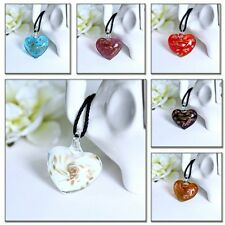 Charms fashion Murano Lampwork glass heart shape Inside Pendant necklace lady`s