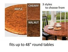 """1 Elastic vinyl FAUX Burled wood indoor outdoor round patio table cover 48"""""""