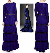 $665 Tadashi Shoji Embroidered Lace Banded Mesh Illusion Long Sleeve Dress Gown