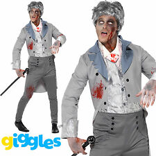 Mens Zombie Gent Costume Historical Traditional Halloween Fancy Dress Outfit