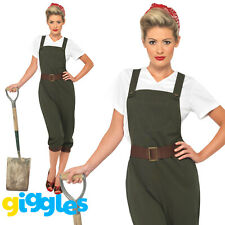WW2 1940s Land Girl Costume Womens Ladies Army Wartime Worker Fancy Dress Outfit