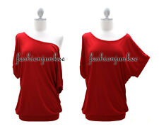 DD3 RED CUFF OFF the Shoulder TOP Loose Shirt Banded Tunic Short Sleeve S M L