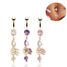 HOT Leaves Navel Ring Gold Crystal Dangle Bar Belly Dance Body Piercing Jewelry