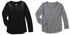 NEW Faded Glory Womens'  Embellished Long Sleeve Shirt Scoop Neck Top XXL  or M