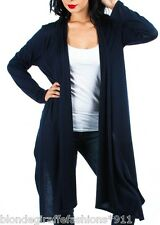 Navy Blue Long Sleeve Scarf/Tie/Wrap Drape Front Plus Cardigan/Cover-Up #LL-2