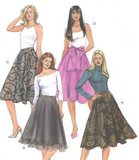 Misses A Line Lined Skirt Sewing Pattern Waistband Ruffle Sheer Sash Zipper 4971