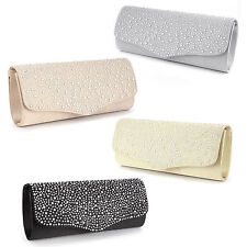 Ladies Diamante Cover Satin Evening Clutch Handbag Women Bag Wedding Prom Purse