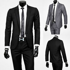 Mens Fashion Formal Casual  Suits Business Sets Fitted One-button Coat+Pant
