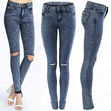NEW LADIES ACID WASH RIPPED SKINNY JEANS WOMENS BLUE DENIM STRETCH FIT RIP PANTS