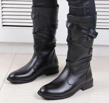 Mens Warmer Buckle Zip Knee High Riding Military Long classic Boots Punk Shoes