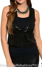 Black Sequin Button Front Sleeveless Vest Top S M L