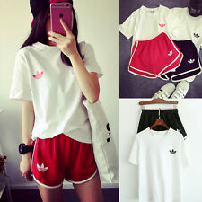 NEW Women ShortSleeve Casual Sports Wear Tops+Shorts Suit Gym Athletic Tracksuit