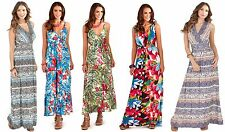 Womens Maxi Dress V Neck  Full Length Summer Dress Ladies Size 8-16