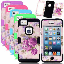 Peony Flower Pattern Soft Silicone Combo Hard PC Matte Armor Case For iPhone 5C