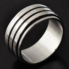 Wide Men's Stainless Steel Band Ring Size 9#A4874