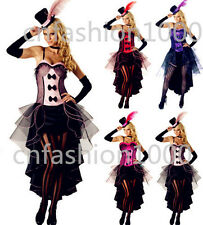 Women Burlesque Moulin Rouge Can Can Fancy Dress Costume Corset Outfit Plus Size