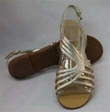 Nine West Womens What Not Synthetic Light Gold Sandals Shoes Sz 6 Ret $69 New