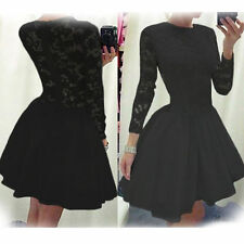 CELEB WOMENS SEXY LONG SLEEVE LACE DRESS FORMAL BALL COCKTAIL PROM EVENING PARTY