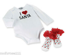 Mud Pie Baby Girl  I Love Santa Cotton Romper Sock Set Christmas Xmas Outfit