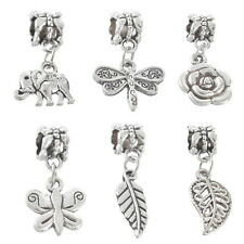 BD 10PCs Delicate European Charm Dangle Beads Fit Bracelet Mixed Silver Tone