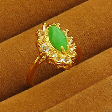 Top Quality 24K Yellow Gold GP Green Jade Flower Ring Size 6 7 8 9  jR021