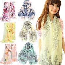Fashion Print Womens Ladies Flower Soft Silk Chiffon Neck Scarf Wrap Shawl Stole