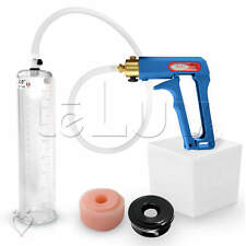 "LeLuv MAXI Blue Penis Pump 9"" Erectile Dysfunction Aid +TPR Sleeve & Soft Donut"